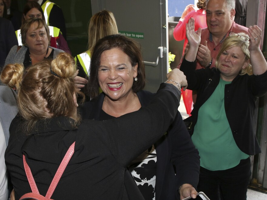 """Sinn Fein party leader Mary Lou McDonald celebrates the """"yes"""" campaign in Dublin as the results from the referendum begin to come in on Saturday."""