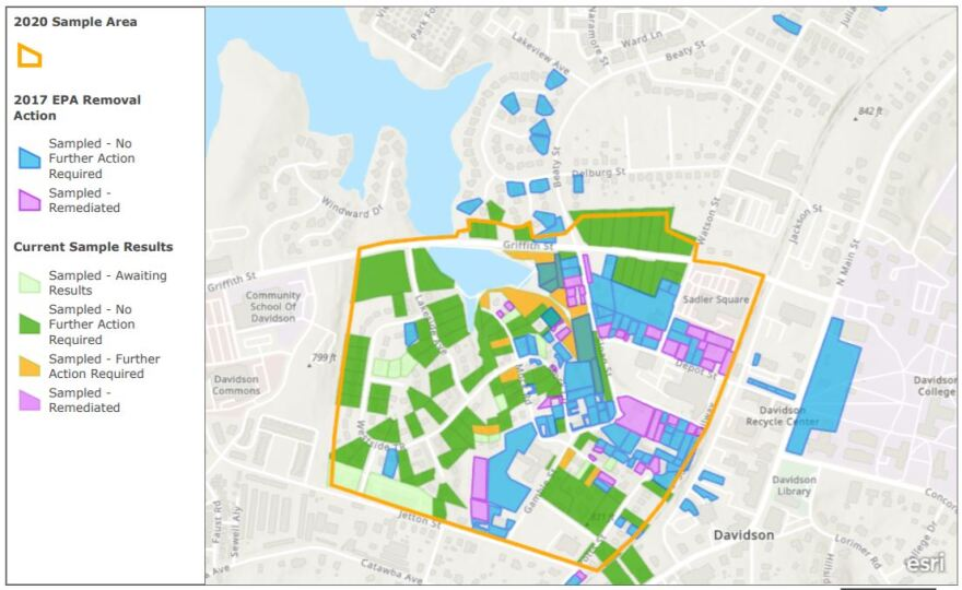 An updated map shows private properties that have been tested for asbestos on Davidson's West Side. Those in orange tested positive for asbestos and are expected to have soil removed and replaced this fall.