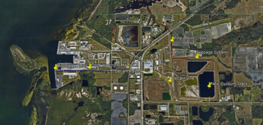 This map shows the Piney Point plant at the lower right, with the discharge lines leading to Port Manatee, at the left