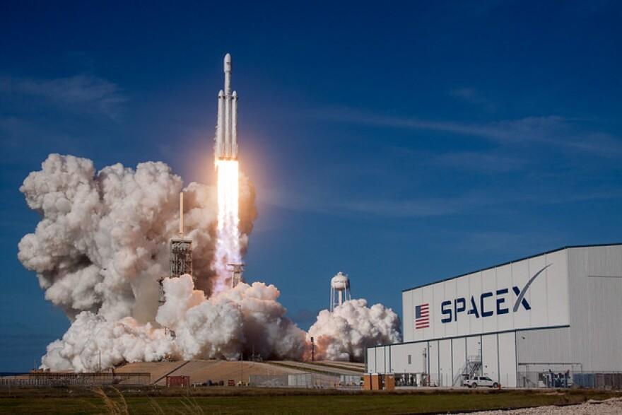 Launch of the Falcon Heavy Demo Mission in February 2018.