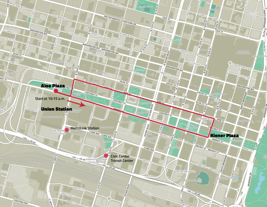 The march's planned 2-mile route starts at Aloe Plaza, heads east down Market Street, then turns around at Kiener Plaza to head back west on Pine Street. In the event of severe weather, the march will be shortened to a small loop. March 24, 2018.