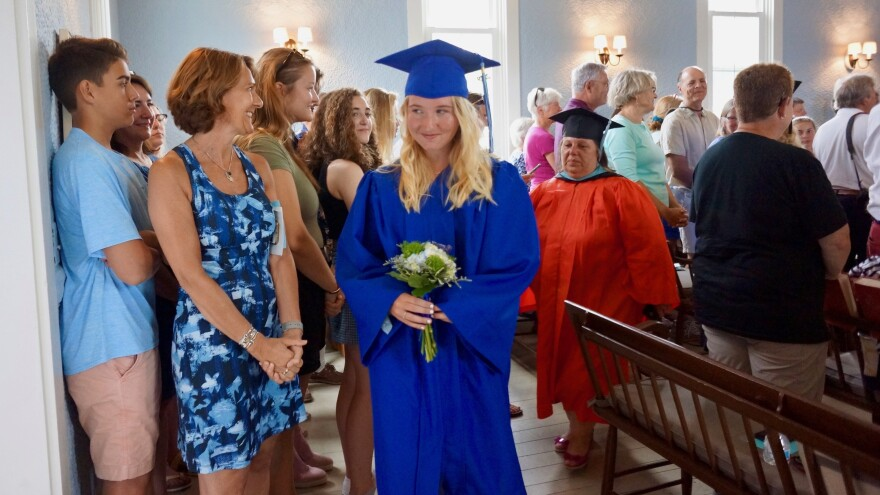 Gwen Lynch graduated 8th grade on Monday as the only student of a one-room public school on the tiny island of Cuttyhunk in Massachusetts.