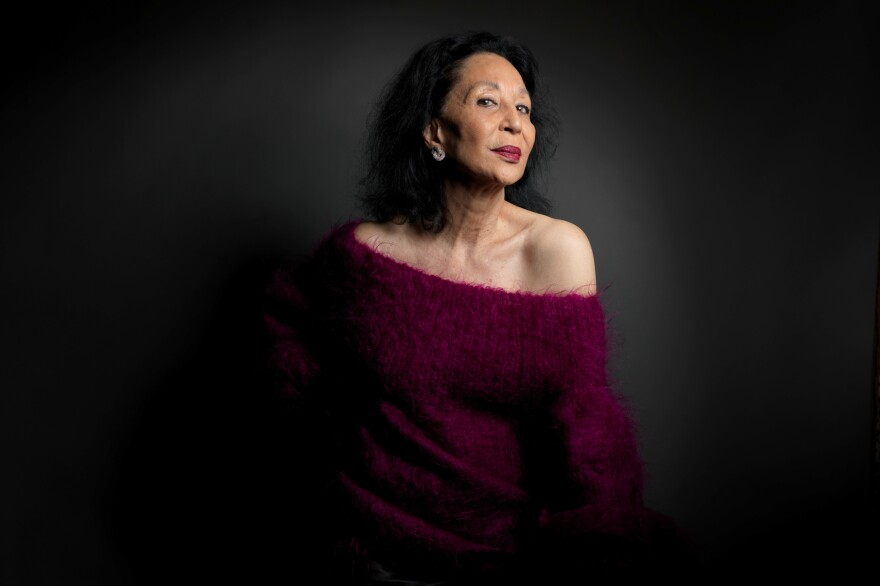 Model China Machado, from the film <em>About Face</em>, poses for a portrait during the 2012 Sundance Film Festival in Park City, Utah.
