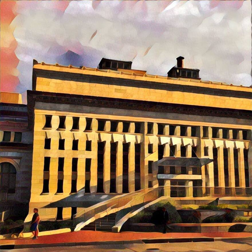 """A photo of the Carnegie Library in Washington, D.C., that was run through the Prisma app's """"Gothic"""" filter."""