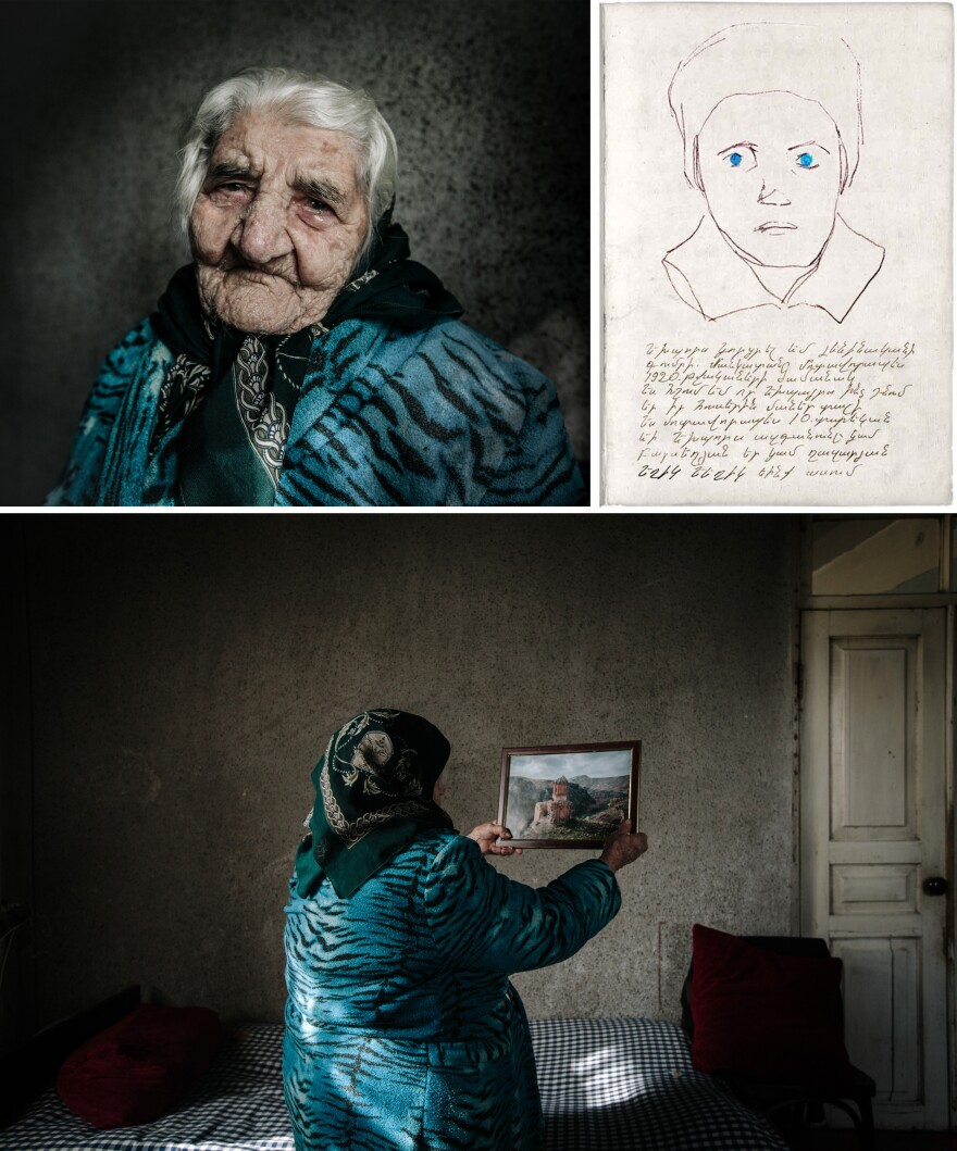"Yepraksia Gevorgyan holds an image of the location where she recalls escaping with her family. She was separated from her brother. ""His name is Yeghia Ghazarian,"" she says. ""I was 10 when I last saw him. He liked to put me on his shoulders and play with me at the orphanage. I don't remember much else about him except he has blue eyes, like mine."" Her grandson drew the portrait sketch (top right)."