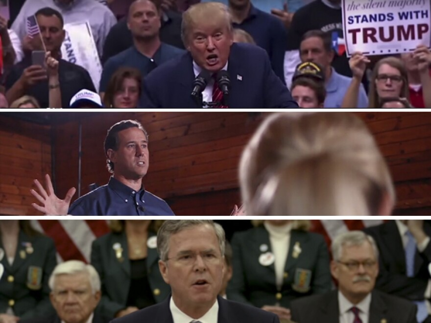 In new campaign ads, presidential candidates (top-bottom) Donald Trump, Rick Santorum and Jeb Bush each argues he would be the right leader to fight ISIS and terrorism.