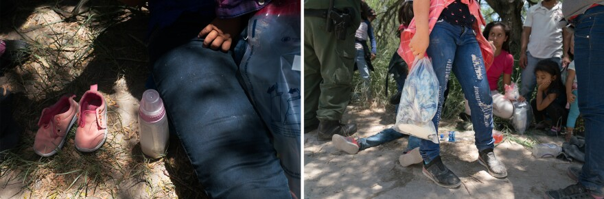 After asylum-seekers are found by Border Patrol agents, they empty their pockets and put their belongings in a clear plastic bag. The only things they keep are paper money and identification.