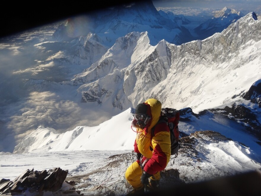 David Mauro rappelling off Everest's south summit during his 2013 expedition.