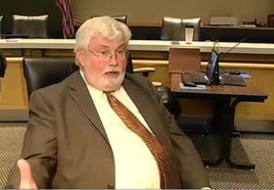 Senate Budget Chairman Jack Latvala speaking to reporters Monday.