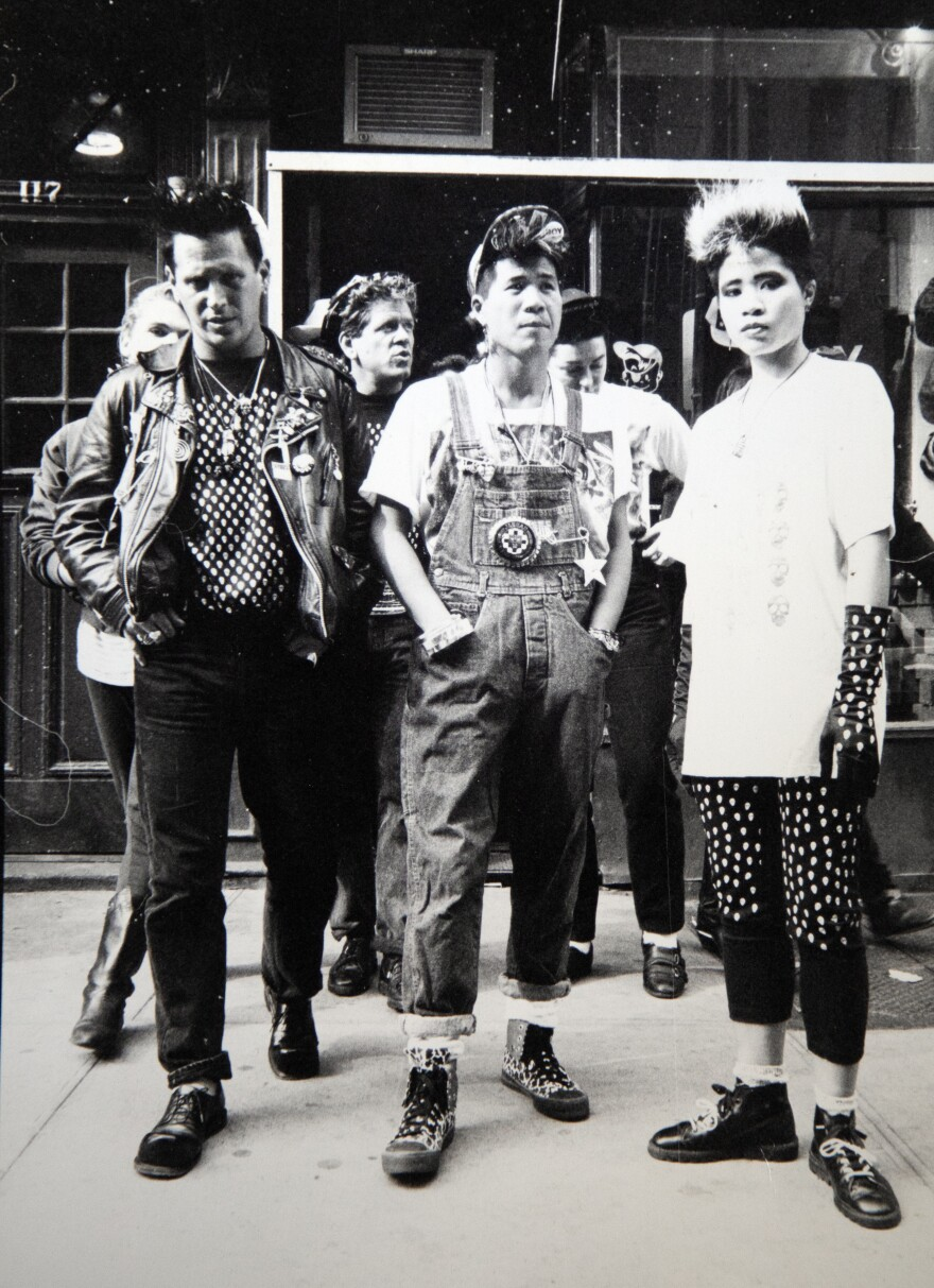 Yorkie (center) with his club friends outside his West Village shop, Reckless NYC, in the late '80s.