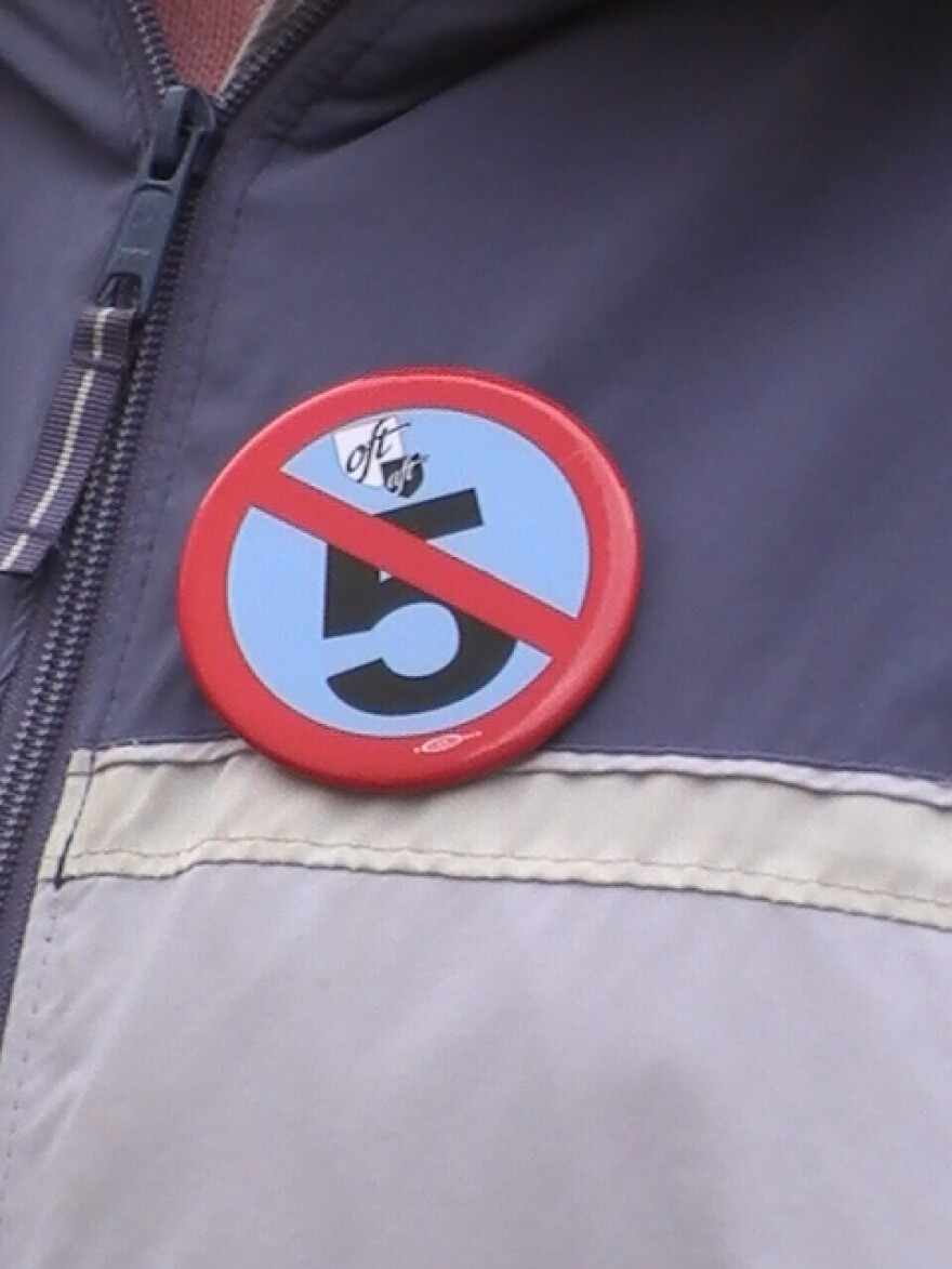 photo of campaign button opposing Senate Bill 5
