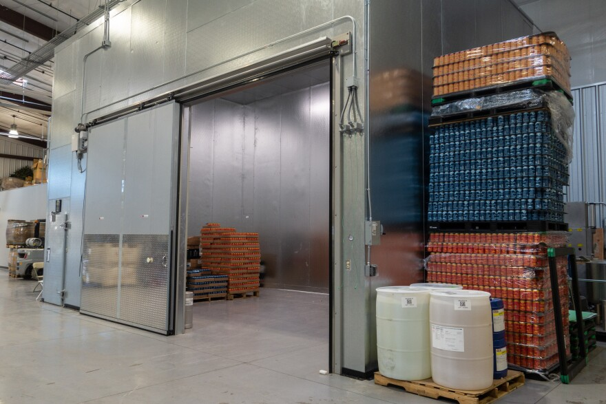 A large walk-in freezer at Silver Reef Brewing Co.