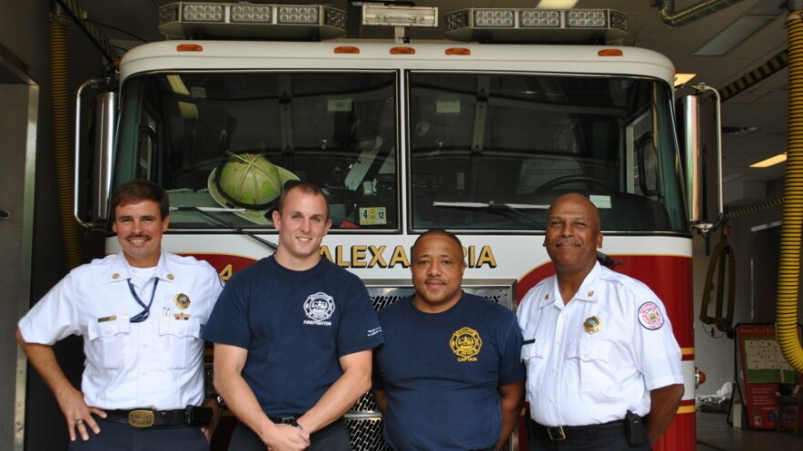 Firefighters of Station 4 in Alexandria, Va.: (left to right) Chief Fire Marshall Robert B. Rodriguez, Jeff Taylor, Capt. Tony Washington, Assistant Chief of Operations Andrew Sneed.