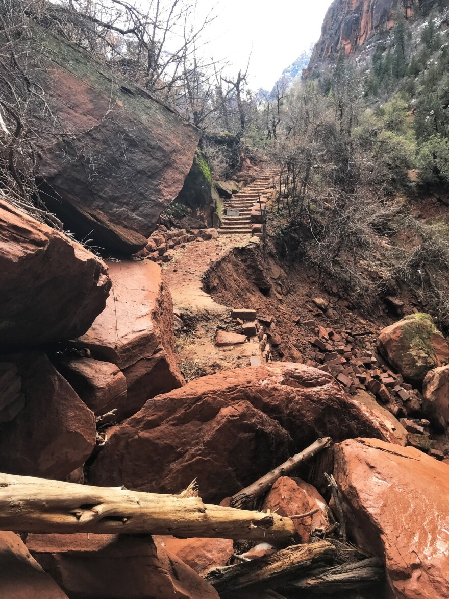 A photo of trail damage in Zion National Park.