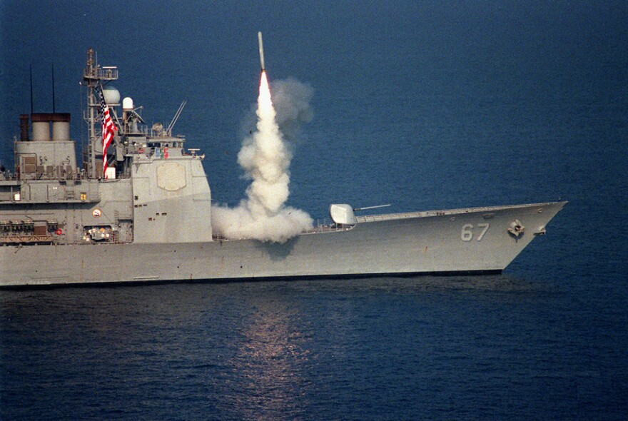 A U.S. Navy cruiser releases a tomahawk cruise missile