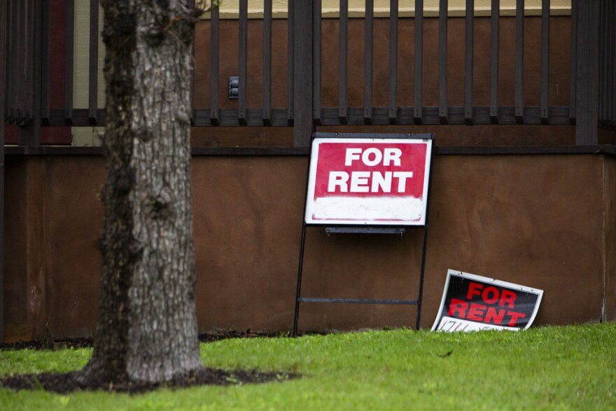 """""""For rent"""" signs."""