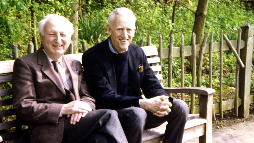 A new biography claims that unpublished fiction is on the way from late author J.D. Salinger, seen here at right posing with a friend, Donald Hartog, in 1989.