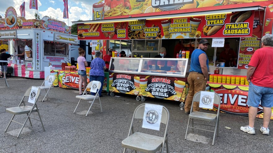 Five trailers serving fried fair foods, drinks and dessert set up in a parking lot at the Atrium in Pennsylvania's Butler County.