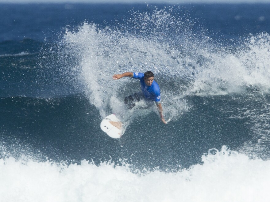 Australia's Julian Wilson cuts back on a wave during his heat against Michel Bourez on day 5 of last year's Margaret River Pro Surfing Competition.