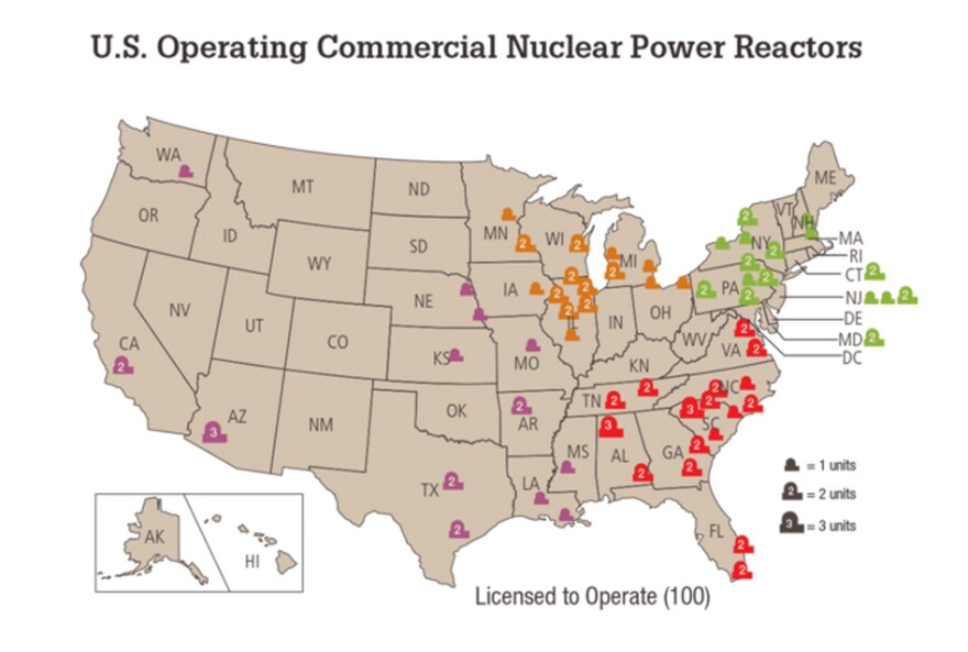 """There are about 100 commercial nuclear reactors licensed to operate. <a href=""""http://www.nrc.gov/reactors/operating/list-power-reactor-units.html"""">Link to a full list</a>."""