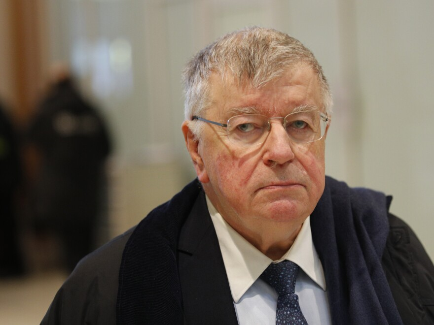 "Former France Télécom Chief Executive Didier Lombard arrives at Paris' courthouse on May 13, one of several former and current managers on trial accused of ""moral harassment"" over a series of employee suicides a decade ago."