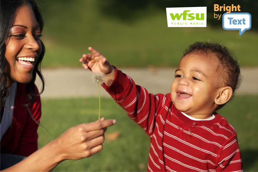 a woman and toddler boy play with a dandelion