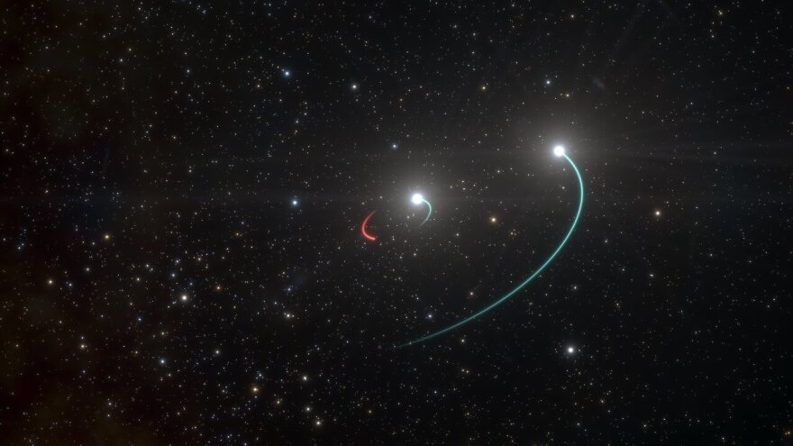 Scientists with the European Southern Observatory say system HR 6819, seen in this artist's rendering, is composed primarily of two stars (orbits in blue) and a newly discovered black hole (orbit in red). The black hole is invisible, but it makes its presence known by the gravitational pull exerted on objects around it.
