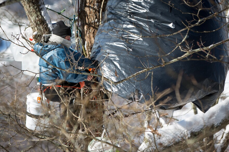 A female tree sitter, who was quoted in the story, comes out of her tent to make some adjustments to the apparatus in the wind and cold.
