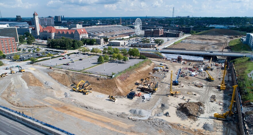 Construction for the new MLS stadium in downtown St. Louis on July 22, 2020