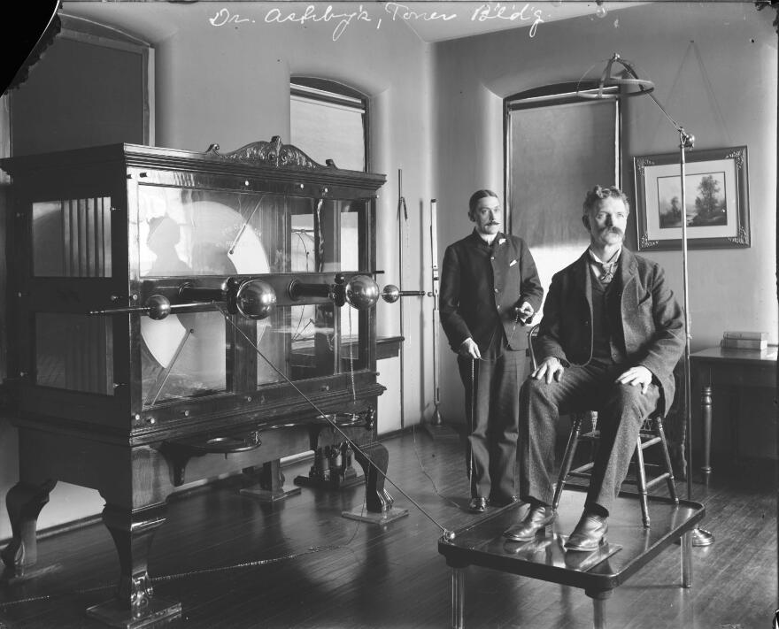"""This """"old electric shock machine,"""" shown above circa 1920, was used for patient therapy at St. Elizabeths in the early 20th century."""