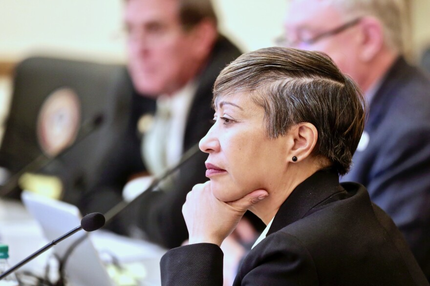 Democratic state Sen. Angela Williams, one of two Senate sponsors of a bill to repeal the death penalty in Colorado, listens to witnesses during a Judiciary Committee hearing Wednesday March 6, 2019.
