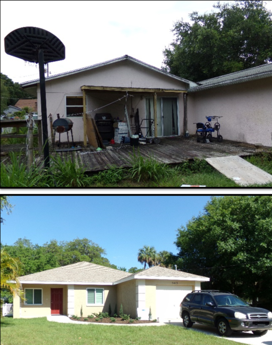 before and after photos of a home, first damaged, then restored