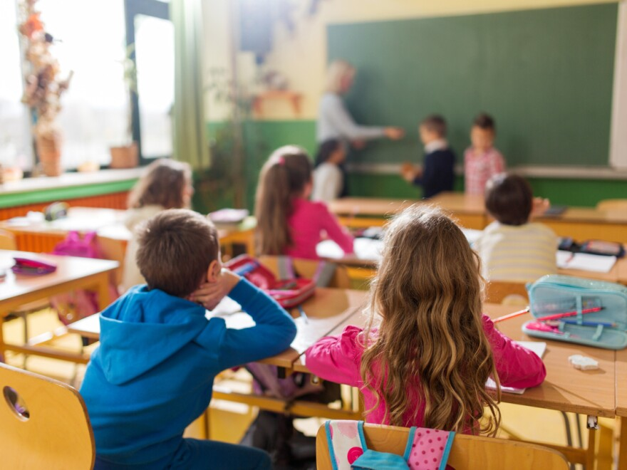 Elementary students attend a class.