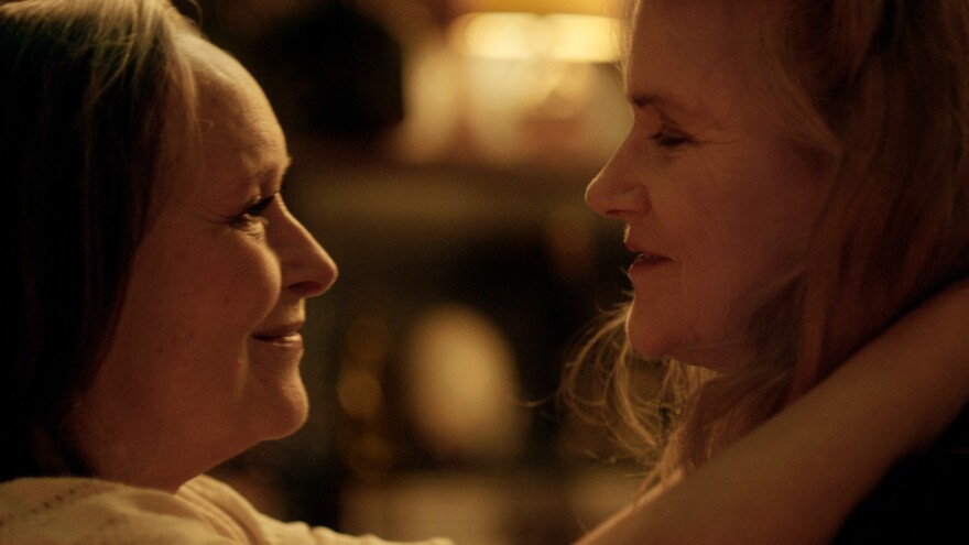 Martine Chevallier and Barbara Sukowa play a lesbian couple facing a health crisis in the French film<em> Two of Us.</em>