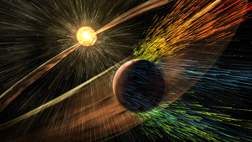 Solar storms from the sun send charged particles streaming towards Mars. Research now shows those particles are stripping away the atmosphere.