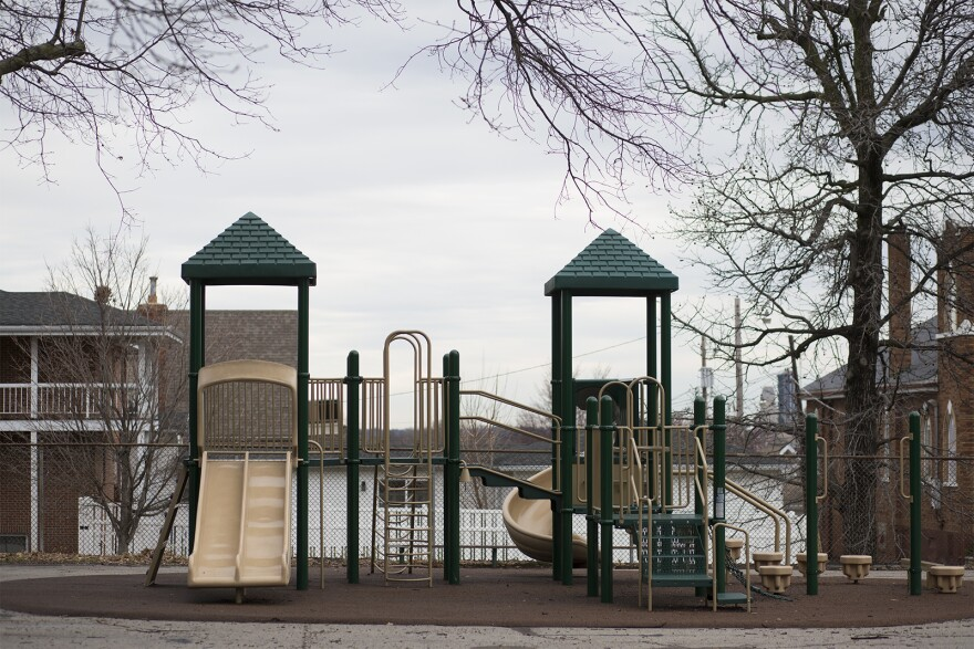 The playground at Shaw VPA Elementary School sits empty on Thursday afternoon, March 19, 2020.