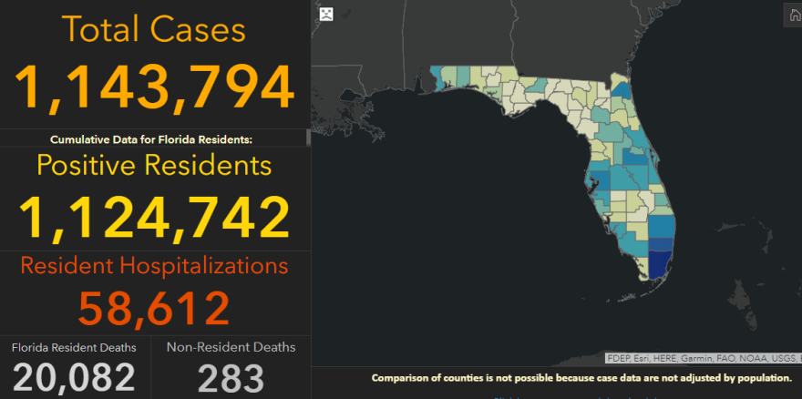 A screenshot of the Florida COVID dashboard that shows 1,143,794 cases.