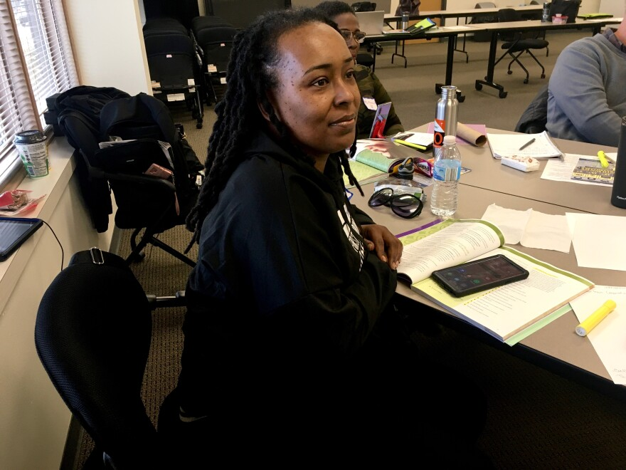 """The Rev. Shirelle Anthony takes part in a mental health first aid class at NCADA in St. Louis County. """"Knowledge is power, and I want the knowledge I have to be effective, wherever I may be,"""" she said."""