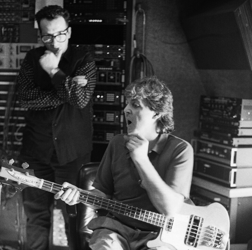 Elvis Costello and Paul McCartney during the 1988 recording sessions for <em>Flowers In The Dirt</em>.