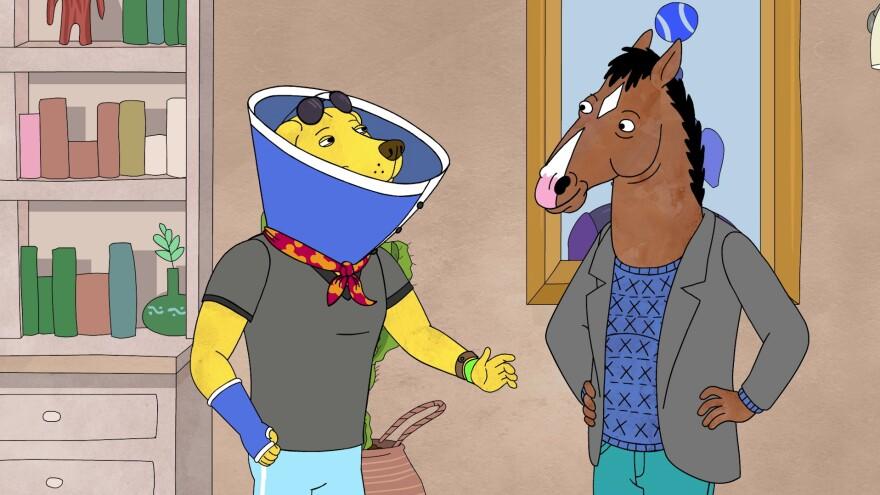 Mr. Peanutbutter (Paul F. Tompkins) and BoJack Horseman (Will Arnett).