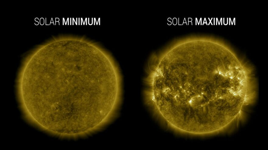 Images from NASA's Solar Dynamics Observatory highlight the appearance of the Sun at solar minimum (left, Dec. 2019) versus solar maximum (right, April 2014).