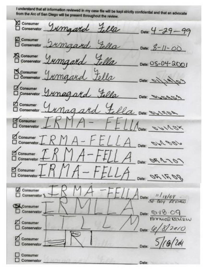Signature log shows how dementia degraded a woman's ability to write her own name.