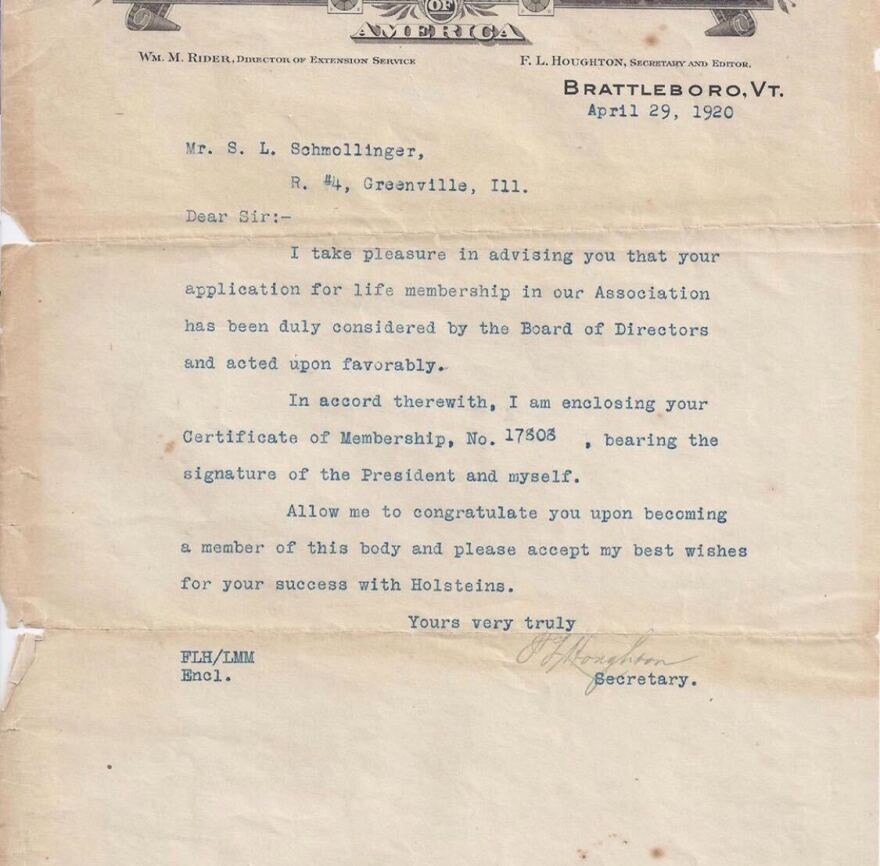 100 years ago, a letter was drafted to Michael Turley's great-grandfather, Sam Schmollinger, from the Holstein Friesian Association of America stating that his application for membership had been accepted.