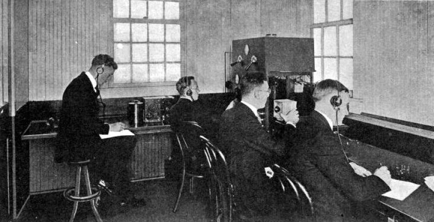 Photo of an early studio at KDKA in East Pittsburgh circa 1921.