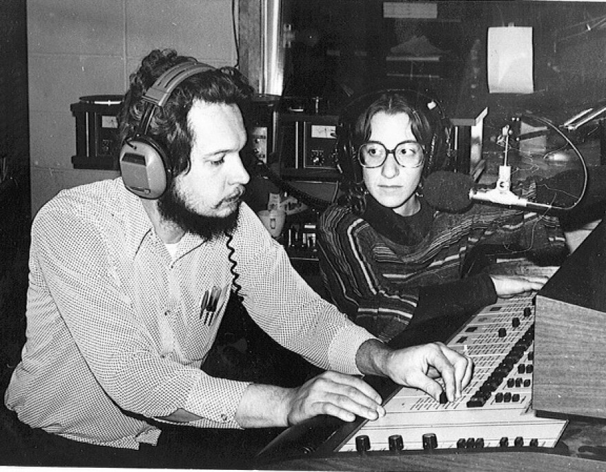 Clean Gene Lohman and Sherry Novick at the WYSO studios in the 1970s