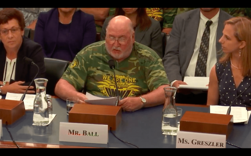 Sam Ball, a retired coal miner from Virginia, testified before the House Subcommittee on Energy and Mineral Resources.