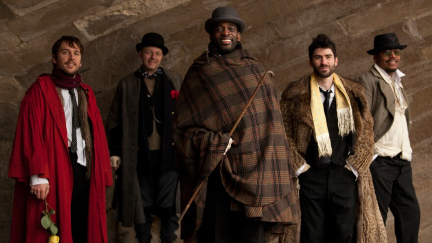 Bibi Tanga (center) has embarked on a tour of the US with his band, The Selenites. Their new album <em>40 Degrees of Sunshine</em> came out July 10.