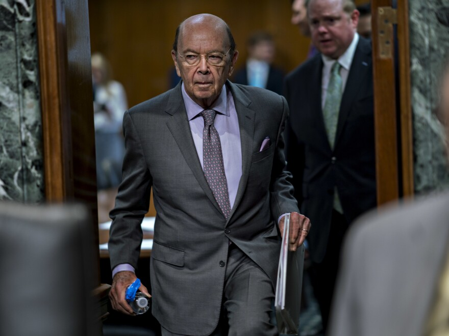 Commerce Secretary Wilbur Ross arrives at a U.S. Senate hearing in June. He added a citizenship question to the 2020 census that has sparked six lawsuits from dozens of states, cities and other groups that want it removed.