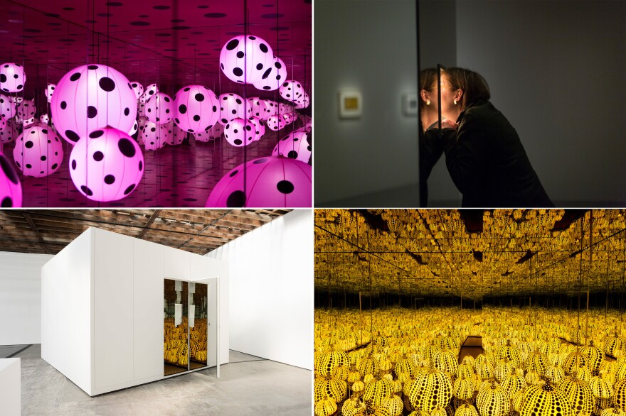 Top left: <em>Dots Obsession — Love Transformed Into Dots</em>, 2007. Top right: Sarah Stauderman looks through a peep hole to view <em>Love Forever</em>. Bottom left: They may <em>look</em> small, but once inside, the mirrored walls of Kusama's infinity rooms make the space feel endless. Bottom right: <em>All the Eternal Love I Have for the Pumpkins</em>, 2016.
