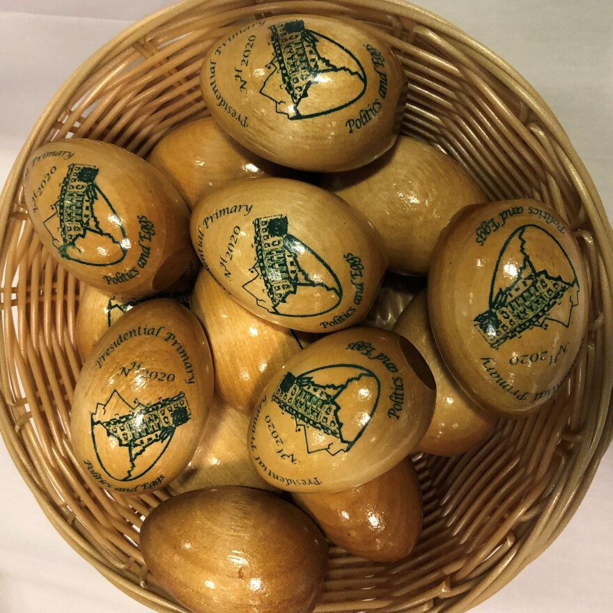 Attendees at a Politics & Eggs breakfasts go home with a souvenir — souvenir wooden eggs.